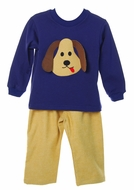 Funtasia Infant / Toddler Boys Tan Check Pants with Blue Puppy Dog Shirt