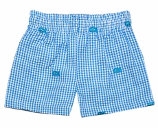 Funtasia Infant / Toddler Boys Turquoise Check Seersucker Embroidered Fish Swim Trunks