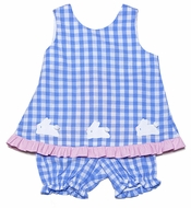 Funtasia Infant / Toddler Girls Blue Check Easter Bunnies Bloomers Set