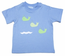 Funtasia Too Boys Blue Tee Shirt with Applique Green Whales
