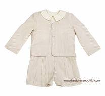 Funtasia Too Boys Tan Seersucker Eton Suit with Linen Blend Shirt