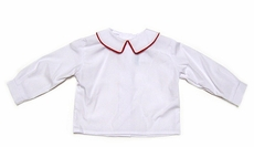 Funtasia Too Boys White Dress Shirts with Red Piping on Collar - Long Sleeves