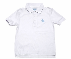Funtasia Too Boys White Polo Shirt with Embroidered Blue Easter Bunny