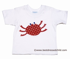 Funtasia Too Boys White Tee Shirt with Applique Red Crab