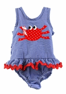 Funtasia Too Girls Navy Blue Seersucker / Red Crab Ruffle One Piece Swimsuit