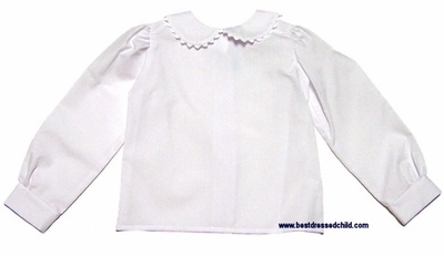 Funtasia Too Girls White Long Sleeve Blouse With Peter Pan