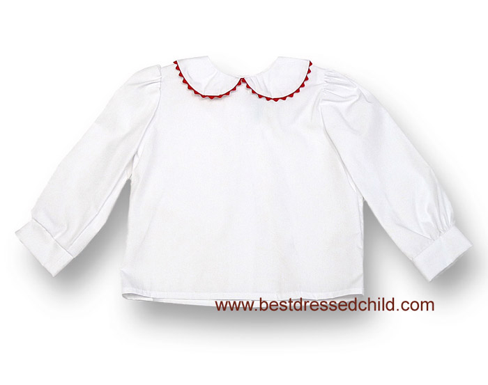Funtasia too girls white blouse with long sleeves and peter pan collar