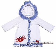 Funtasia Too Girls White Cover Up with Hood - Blue Ruffle Trim and Red Crab