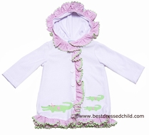 Funtasia Too Girls White Hooded Cover Up with Green Gators / Pink Ruffle Trim