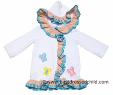 Funtasia Too Girls White Terry Hooded Ruffle Cover Up - Butterflies