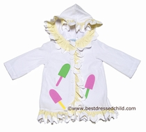 Funtasia Too Girls White Terry Ruffle Cover Up with Hood - Popsicles