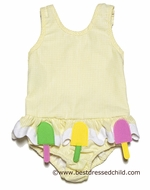 Funtasia Too Girls Yellow Gingham Popsicles Swimsuit - One Piece