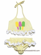Funtasia Too Girls Yellow Gingham Popsicles Swimsuit - Two Piece
