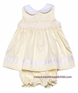 Glorimont Baby Girls Maize Yellow Pique Sleeveless Easter Dress - Rococo Trim & Bloomers