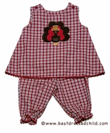 Glorimont Baby Girls Red / Brown Plaid Reversible Turkey / Reindeer - Pantaloons Set