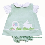 Glorimont Baby Girls Reversible Green Striped Seersucker Easter Bunny Bloomers Set with Blouse