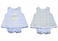 Glorimont Baby Girls Reversible Plaid Easter Chick / Blue Oxford Bloomers Set