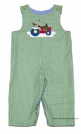 Glorimont Baby / Toddler Boys Blue Check with Pumpkin Dog / Green Check with Christmas Red Tractor REVERSIBLE Longall