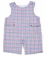 Glorimont Baby / Toddler Boys Blue / Coral Check Shortall with Tabs