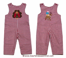 Glorimont Baby / Toddler Boys Red / Brown Plaid Reversible Turkey / Reindeer - Longall
