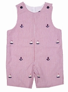 Glorimont Baby / Toddler Boys Red Seersucker / Boat Embroidery Shortall