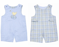 Glorimont Baby / Toddler Boys Reversible Blue Oxford / Plaid Easter Chick Shortall