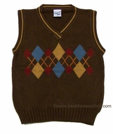 Glorimont Boys Brown Sweater Vest with Autumn Blue / Tan / Rust Argyle