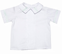 Glorimont Boys Dressy White Pique Shirt with Mint Green Trim
