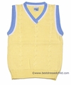 Glorimont Boys Maize Yellow Cable Knit Sweater Vests with Light Blue Trim