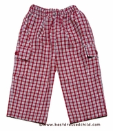 Glorimont Boys Red / Brown Pull On Plaid Pants