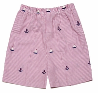 Glorimont Boys Red Seersucker / Boat Embroidery Shorts
