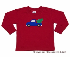 Glorimont Boys Red Shirt with Truck Carrying Christmas Tree