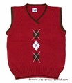 Glorimont Boys Red Sweater Vest with Brown / White Argyle Design