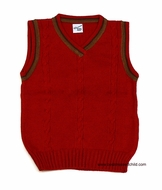Glorimont Boys Red V-Neck Cable Knit Sweater Vests with Brown Trim