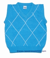 Glorimont Boys Turquoise Blue Easter Sweater Vest with White Stitching