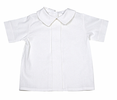 Glorimont Boys White Linen Blend Pleated Dress Shirt