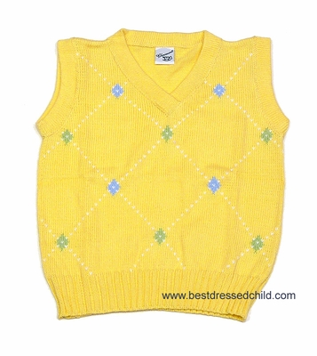 Glorimont Boys Yellow Easter Sweater Vest with Tiny Argyles