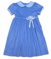Glorimont Girls French Blue Corduroy Dress with Peter Pan Collar