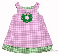 Glorimont Girls Green Check with Orange Pumpkin / Pink Check with Green Christmas Wreath REVERSIBLE Jumper Dress