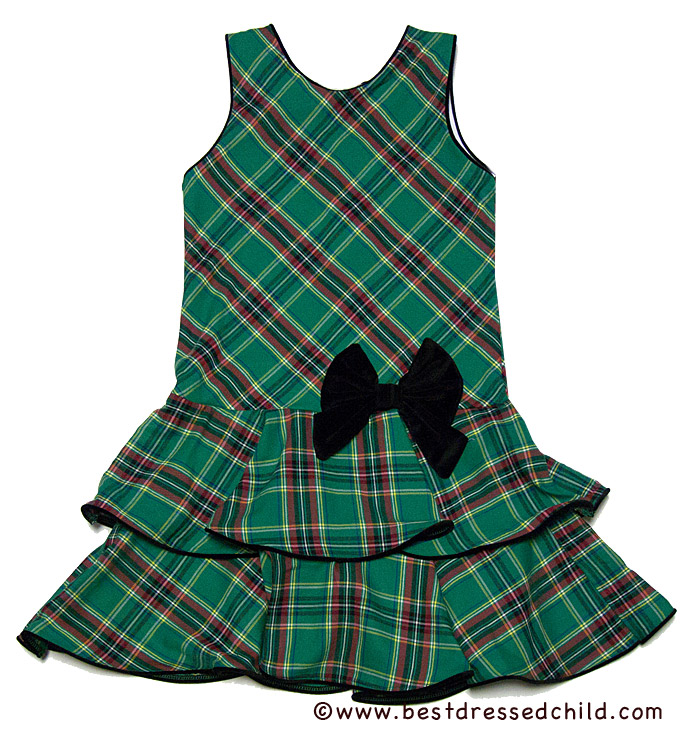 Glorimont girls green christmas plaid jumper dress with black bows