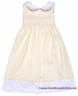 Glorimont Girls Maize Yellow Pique Sleeveless Easter Dress with Rococo Trim & Collar