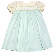 Glorimont Girls Mint Green / Yellow Pique Easter Float Dress with Bow