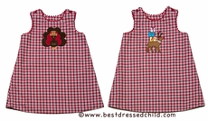 Glorimont Girls Red / Brown Plaid Reversible Turkey / Reindeer - Dress