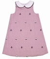 Glorimont Girls Red Seersucker / Anchor Embroidery Sleeveless Dress