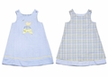 Glorimont Girls Reversible Blue Plaid / Oxford Easter Chick Dress