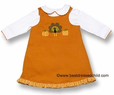 Glorimont Girls REVERSIBLE Dress with Blouse - Orange Check Halloween Ghosts / Solid Orange Thanksgiving Turkey