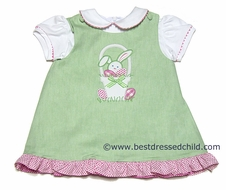 Glorimont Girls REVERSIBLE Green Oxford Dress with Rick Rack Blouse - Easter Bunny in Basket / Pink Scooter