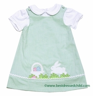 Glorimont Girls Reversible Green Striped Seersucker Easter Bunny Dress with Blouse