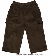 Glorimont Infant / Toddler Boys Cocoa Brown Corduroy Pull On Pants