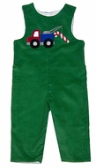 Glorimont Infant / Toddler Boys Kelly Green Corduroy Tow Truck / Candy Cane Longall